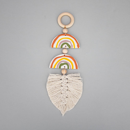 Small clay double rainbow hanging by Loom and Form