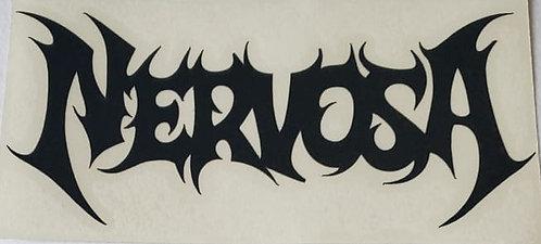 Calcamonia - NERVOSA - Logo en Negro , Blanco y Rojo