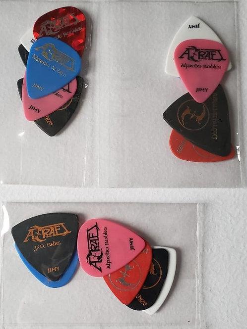 AZRAEL - Set de 6 puas, 2 de cada integrante. J.M. Salas, Enrique y Alfredo.