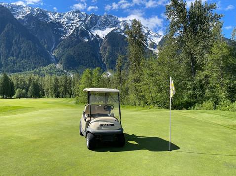 Golf Cart & View on the green.JPG