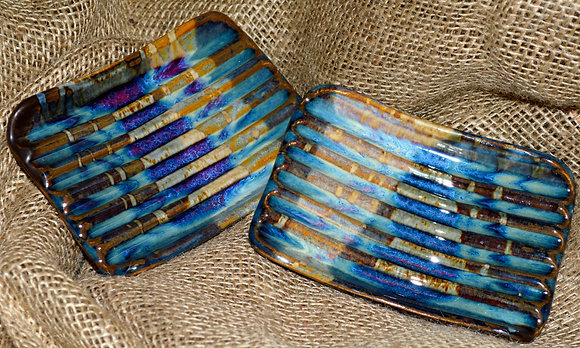 Iridescent Blues and Earth Tones Soap Dish