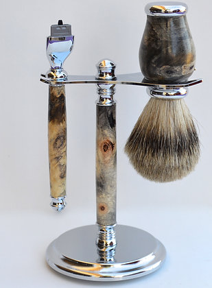 Shaving Set Buckeye Burl Wood
