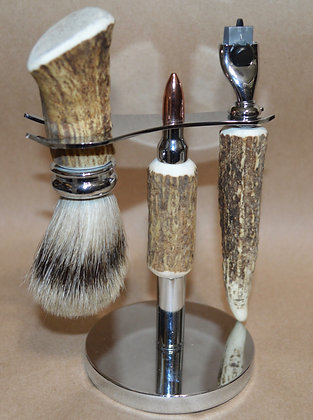 Elk Antler Shaving Set with Gold Bullet Cartridge Stand