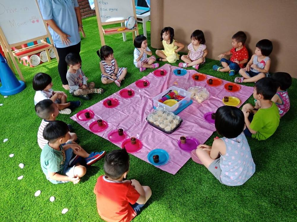 Taska Children's World very own children picnic, our children love tasting their handiwork!