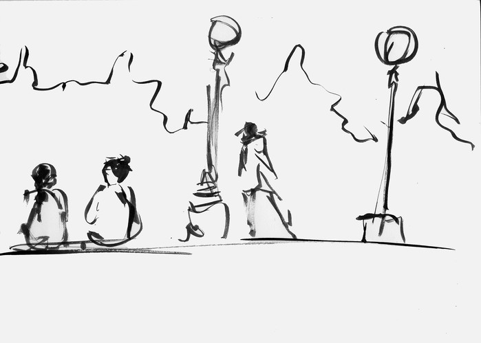 People At The Park Sketch