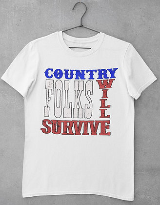 Country Folks White Logo T-Shirt