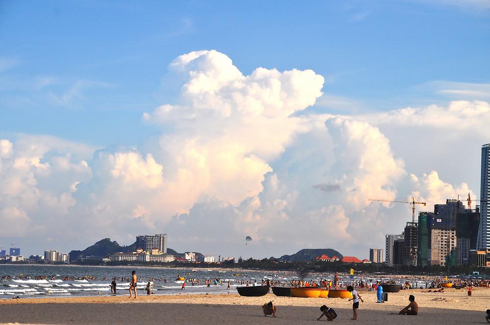 Beautiful beach with many accommodation along