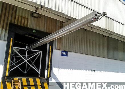 Transportador helicoidal horizontal para granos y semillas de alto tonelaje (bazuca) para contenedores. Marca Hegamex