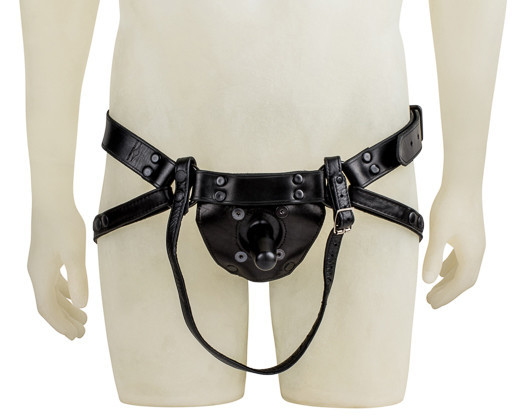 a leather harness for a strap-on