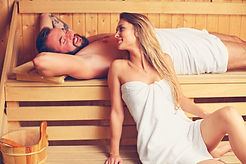 Picture of happy couple relaxing in wood