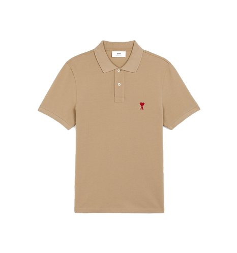Ami Paris De Coeur Polo Shirt Beige