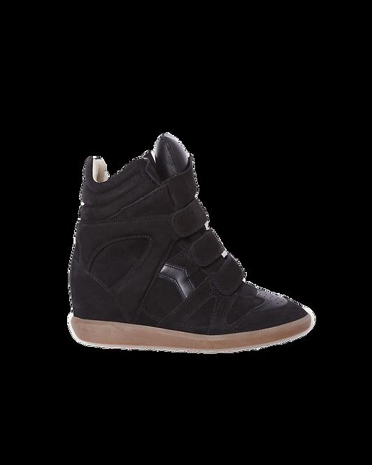 Isabel Marant Bekett Sneakers met Sleehak Zwart