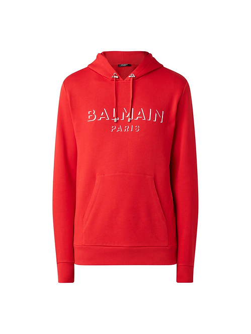 Balmain Logo Hoodie Red