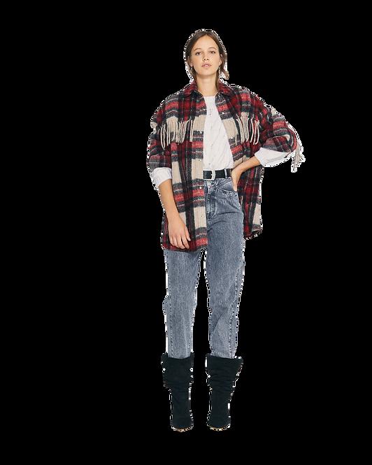 IRO Cocha Fringed Plaid Overshirt Coat