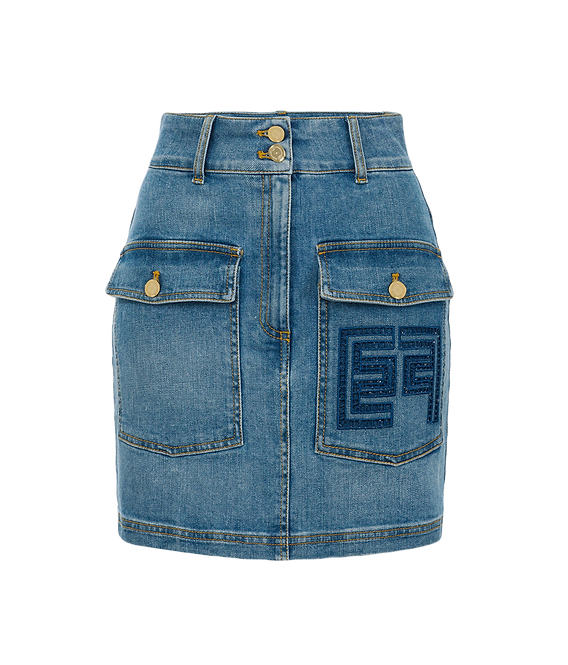 Elisabetta Franchi Denim Mini Skirt
