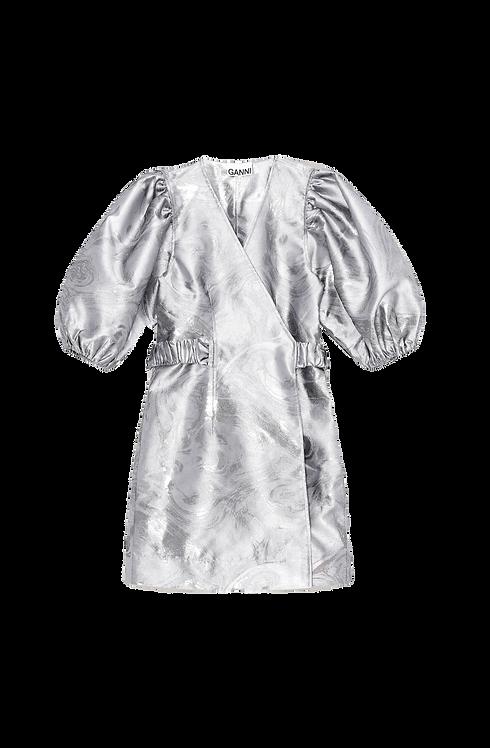 GANNI Shiny Jacquard Wrap Dress
