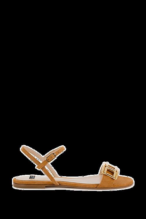 Elisabetta Franchi Flat Sandals with Light Gold Logo
