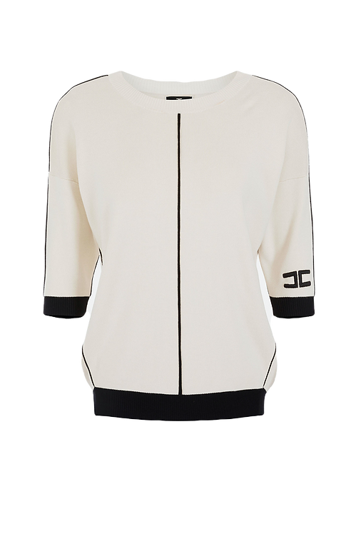 Elisabetta Franchi Sleeved Tricot Top Butter/Black