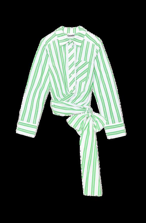 GANNI Stripe Cotton Wrap Shirt