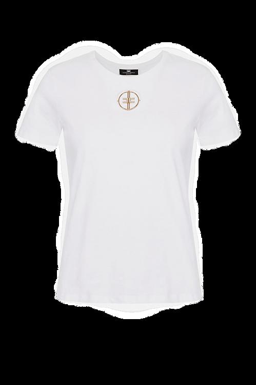 Elisabetta Franchi T-shirt with embroidered rhinestone logo