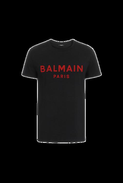 Balmain Red Paris Logo T-shirt Black