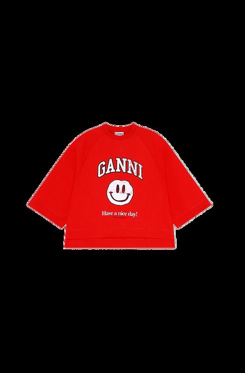GANNI Isoli Oversized Raglan Sweatshirt Red