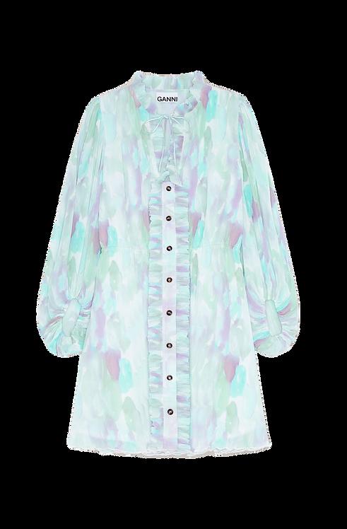 Ganni Pleated  Mini Dress Georgette