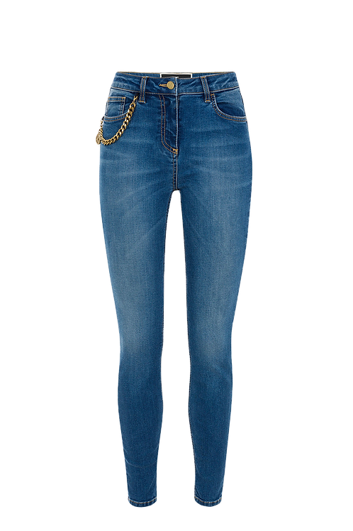 Elisabetta Franchi Skinny Jeans With Aged Gold Charm