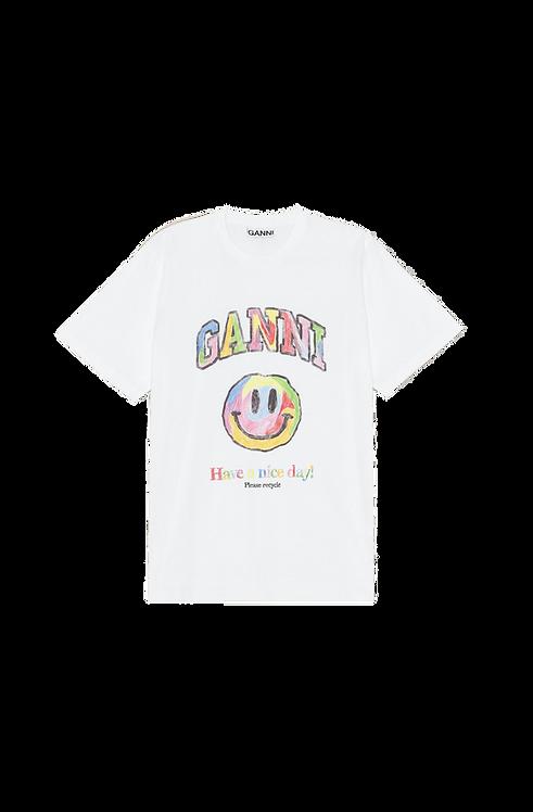 GANNI Basic Cotton Jersey T-shirt Wit
