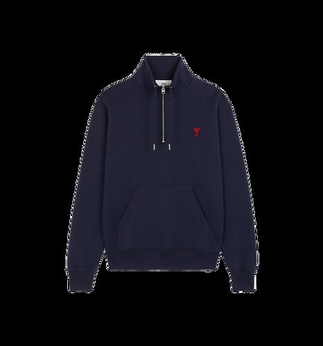 Ami Paris De Coeur Zipped Sweatshirt Navy Blauw