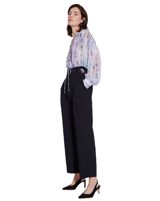 IRO Lade Tie Front Sheer Printed Blouse