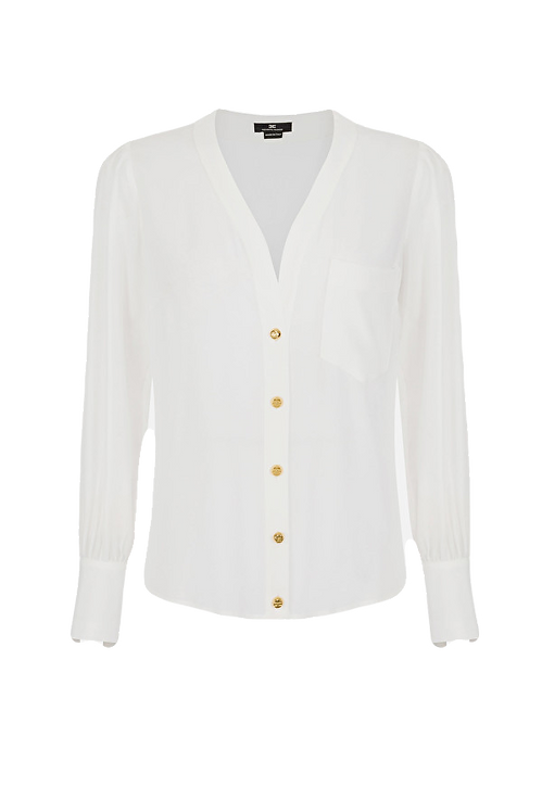 Elisabetta Franchi Blouse In Double Georgette Fabric White
