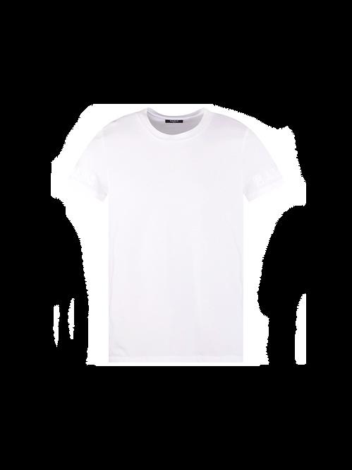 Balmain White Embossed Sleeve T-Shirt White