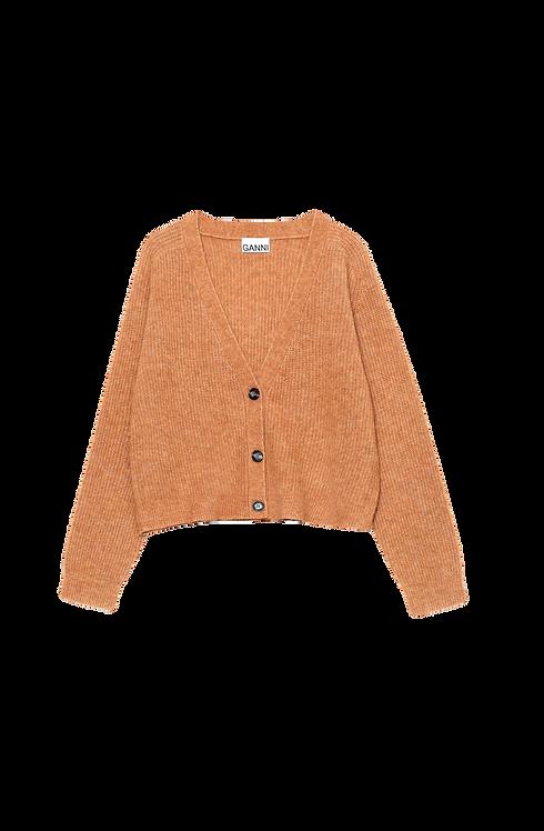 Ganni Soft Wool Knit Cardigan Brown