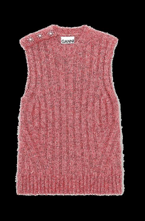 GANNI Chunky Glitter Knit Vest