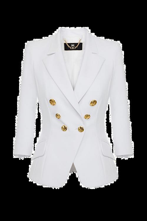 Elisabetta Franchi Short Jacket with light gold buttons white