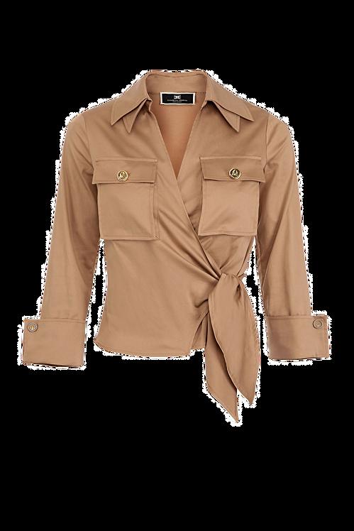 Elisabetta Franchi Cotton crop shirt dove grey