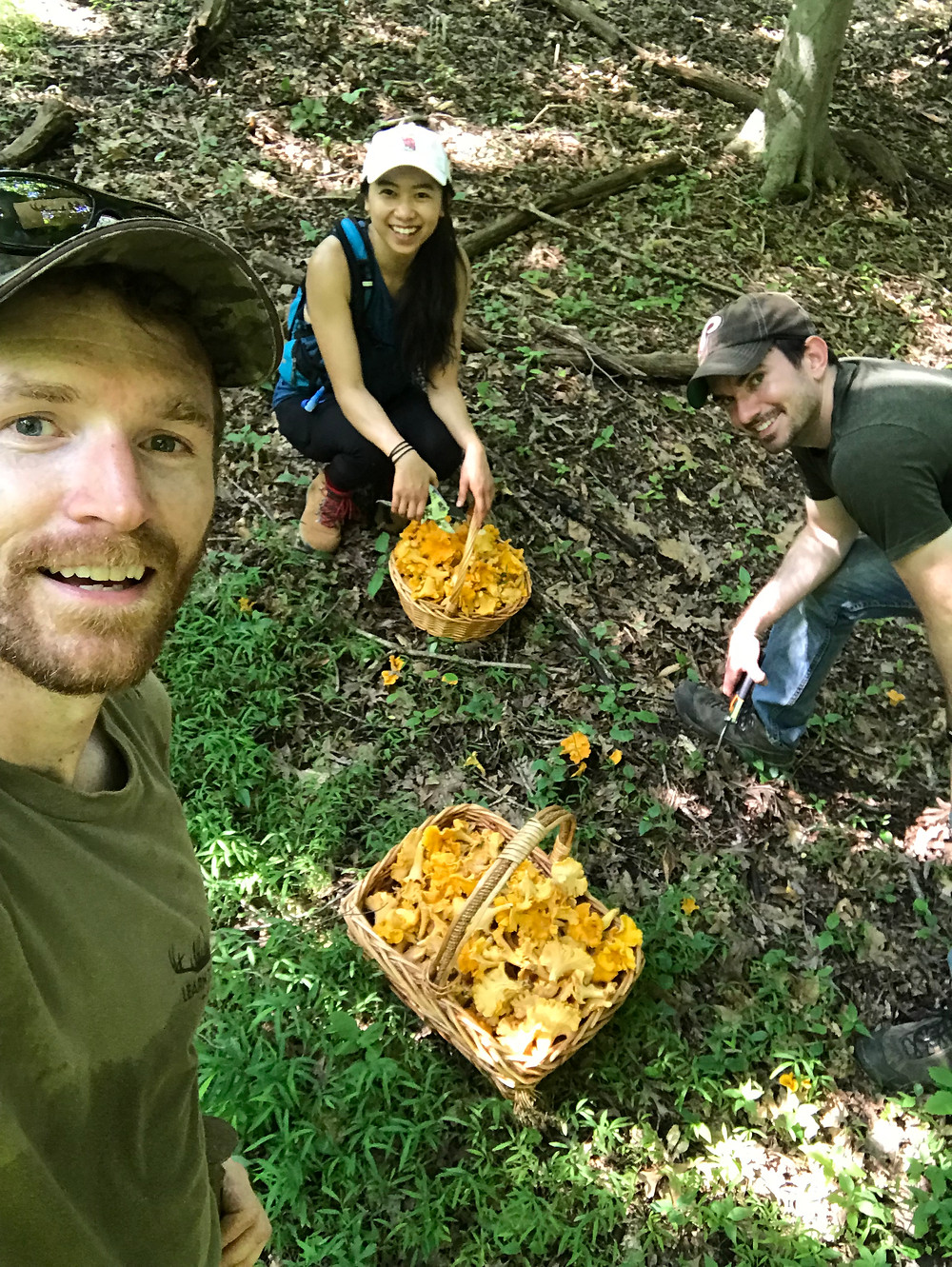 This hunting lesson quickly became a mushroom foraging adventure when we discovered large quantities of the prized Chanterelle mushroom when hiking through the forest.