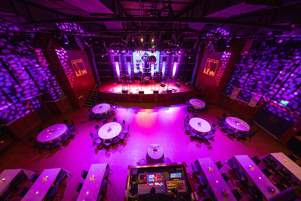 The main stage at World Cafe Live, with room set for a wedding reception