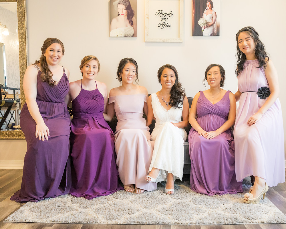 photo of bride and five brides maids