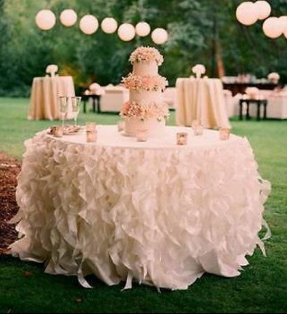 Ruffled cake table cloth