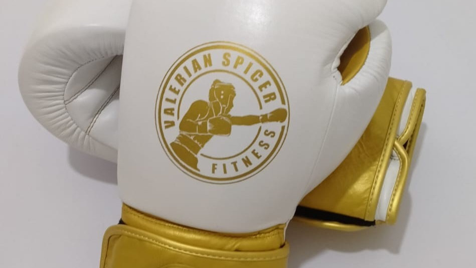 White and Gold Leather Boxing Gloves - 16 oz or 14 oz