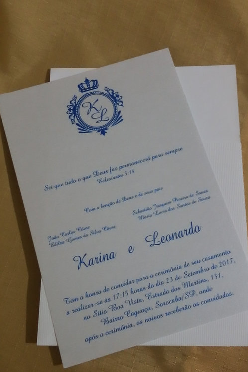 Convite de Casamento Karin