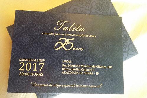 Convite de Aniversário Preto e Dourado
