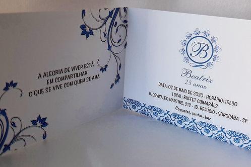 Convite aniversário azul
