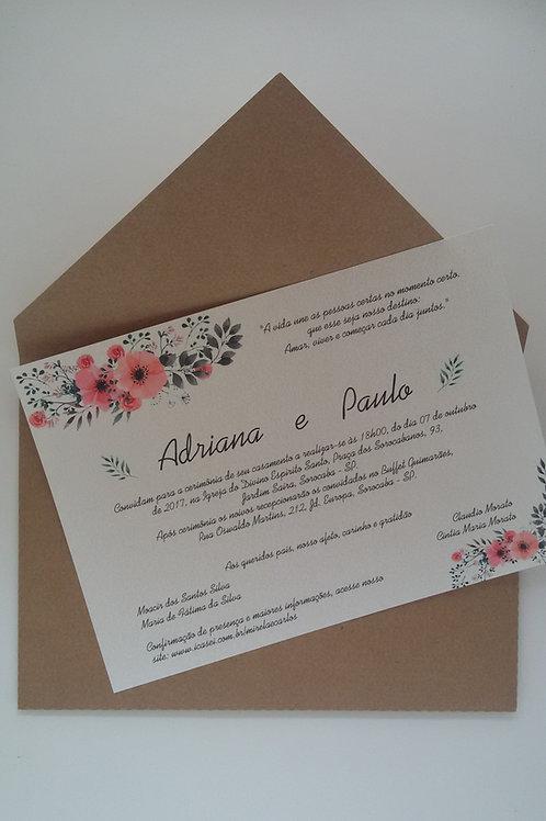 Convite Envelope Bico Rústico Campo
