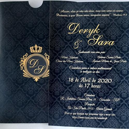 Convite de casamento Preto e Dourado