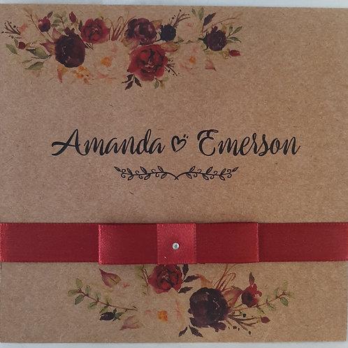 Convite casamento Rustico Marsala