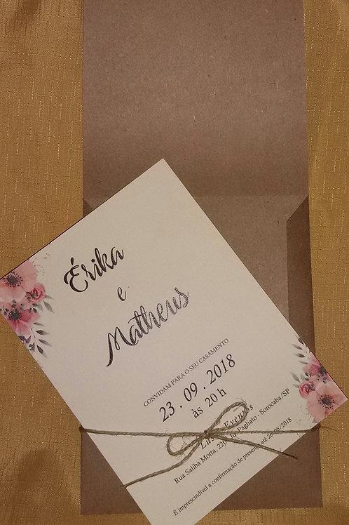 Convite Rústico com Florais