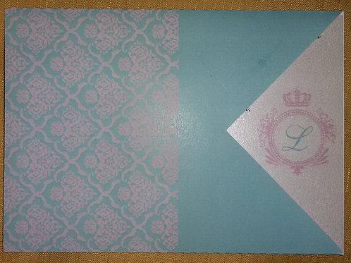 Convite 15 anos azul tiffany e rosa